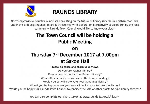 Town Council Online Survey and Public Meeting for Raunds Library