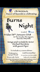 Burns Night in aid of Mind Charity @ The Snooks | Raunds | England | United Kingdom