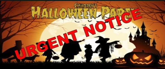 Children's Halloween Party Tickets to be Released Tuesday 2nd Oct